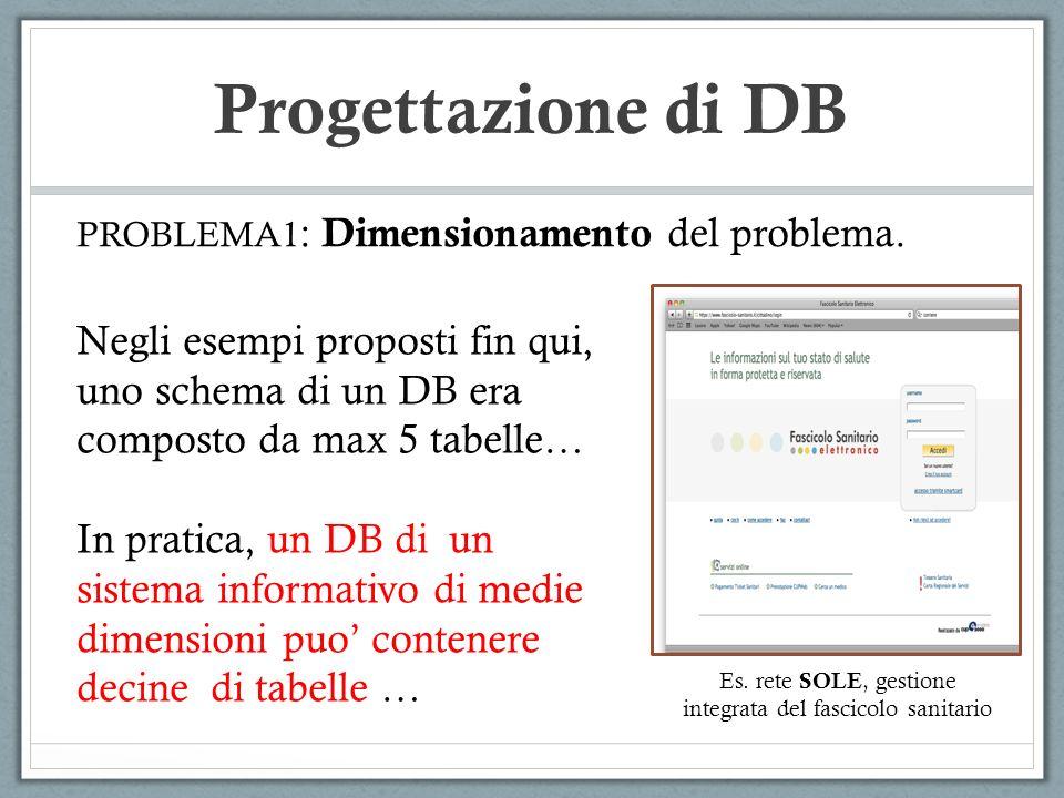 Progettazione di DB PROBLEMA2 : Analisi dei requisiti Quali sono le specifiche del sistema che si vuole realizzare.