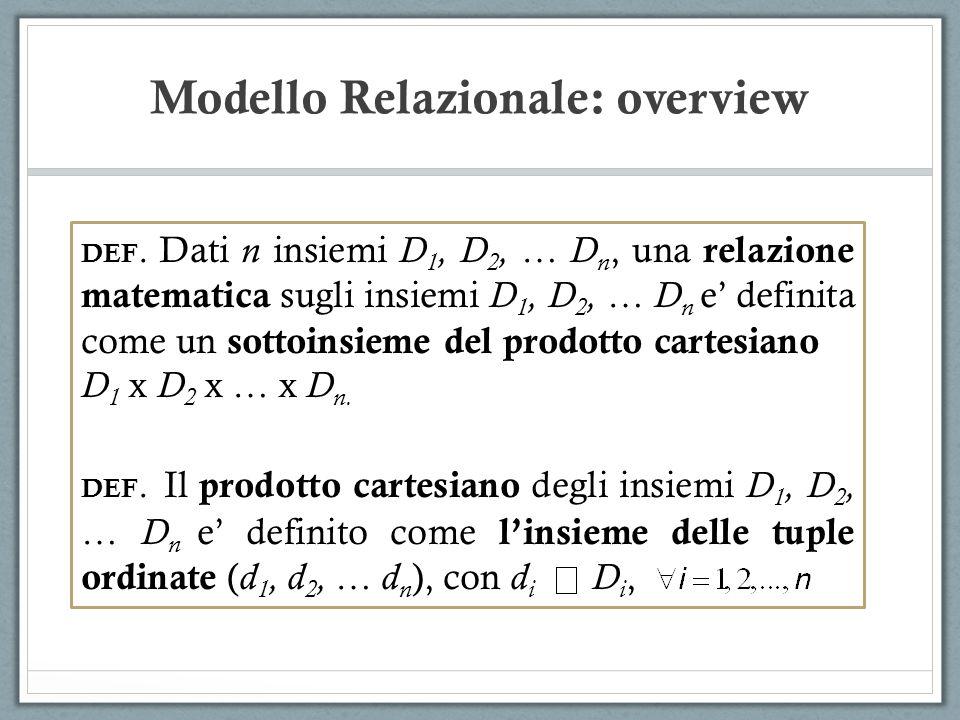 Modello Relazionale: overview DEF. Dati n insiemi D 1, D 2, … D n, una relazione matematica sugli insiemi D 1, D 2, … D n e definita come un sottoinsi