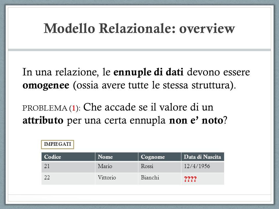 Modello Relazionale: overview In una relazione, le ennuple di dati devono essere omogenee (ossia avere tutte le stessa struttura). PROBLEMA ( 1 ): Che