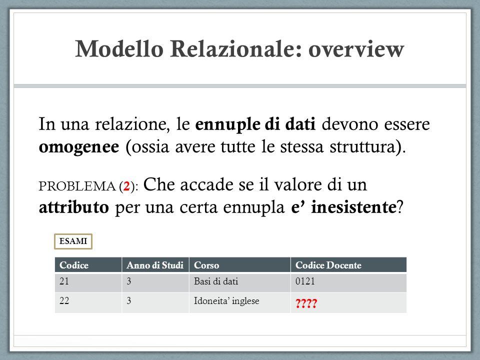 Modello Relazionale: overview In una relazione, le ennuple di dati devono essere omogenee (ossia avere tutte le stessa struttura). PROBLEMA ( 2 ): Che