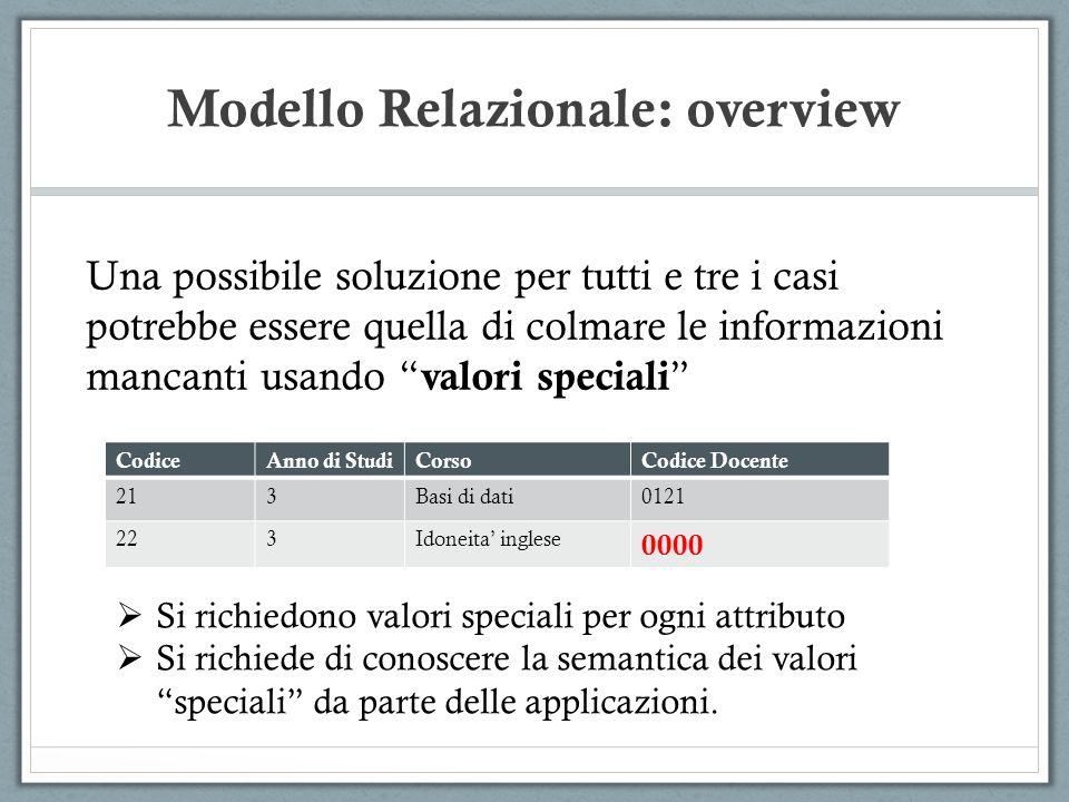 Modello Relazionale: overview Una possibile soluzione per tutti e tre i casi potrebbe essere quella di colmare le informazioni mancanti usando valori