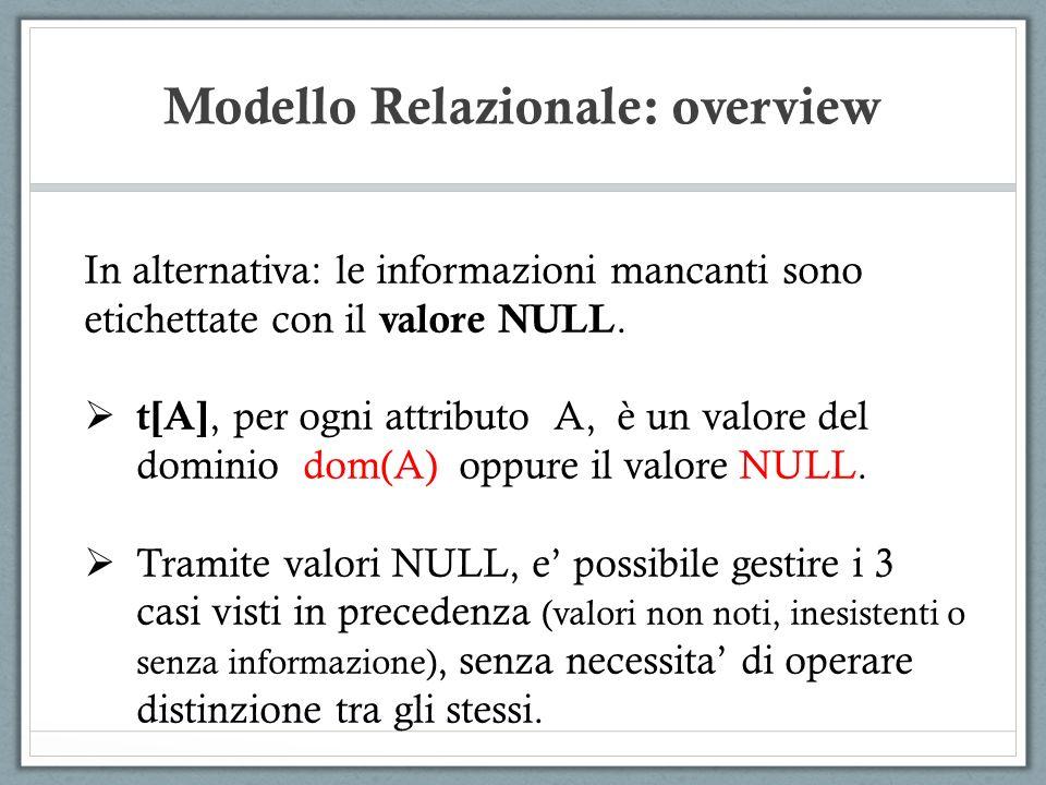 Modello Relazionale: overview In alternativa: le informazioni mancanti sono etichettate con il valore NULL. t[A], per ogni attributo A, è un valore de