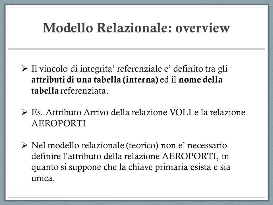 Modello Relazionale: overview Il vincolo di integrita referenziale e definito tra gli attributi di una tabella (interna) ed il nome della tabella refe