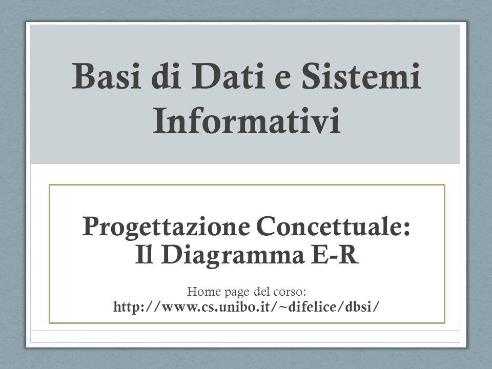 Basi di Dati e Sistemi Informativi Progettazione Concettuale: Il Diagramma E-R Home page del corso: http://www.cs.unibo.it/~difelice/dbsi/