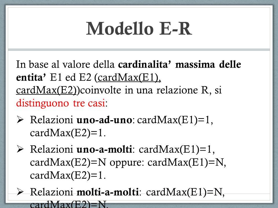 Modello E-R In base al valore della cardinalita massima delle entita E1 ed E2 (cardMax(E1), cardMax(E2))coinvolte in una relazione R, si distinguono t