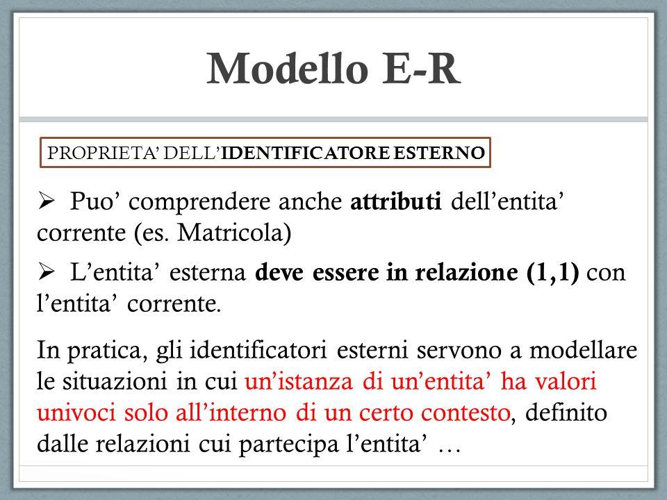 Modello E-R PROPRIETA DELL IDENTIFICATORE ESTERNO Puo comprendere anche attributi dellentita corrente (es. Matricola) Lentita esterna deve essere in r