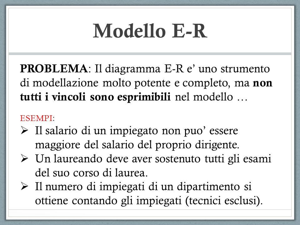 Modello E-R PROBLEMA : Il diagramma E-R e uno strumento di modellazione molto potente e completo, ma non tutti i vincoli sono esprimibili nel modello
