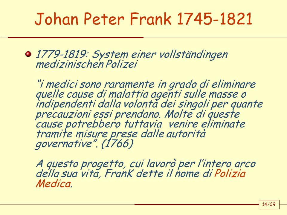 14/29 Johan Peter Frank 1745-1821 1779-1819: System einer vollständingen medizinischen Polizei i medici sono raramente in grado di eliminare quelle ca