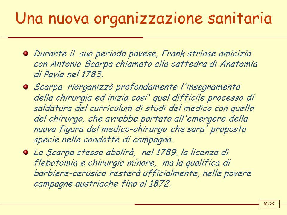 Una nuova organizzazione sanitaria 18/29 Durante il suo periodo pavese, Frank strinse amicizia con Antonio Scarpa chiamato alla cattedra di Anatomia d