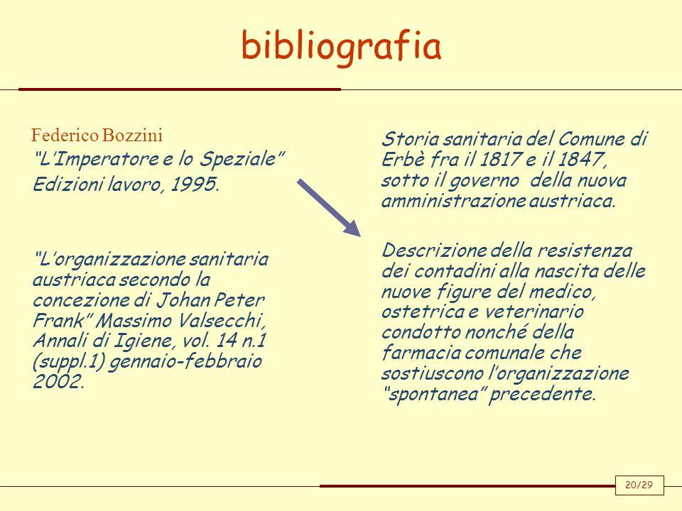 bibliografia 20/29 Federico Bozzini LImperatore e lo Speziale Edizioni lavoro, 1995. Lorganizzazione sanitaria austriaca secondo la concezione di Joha
