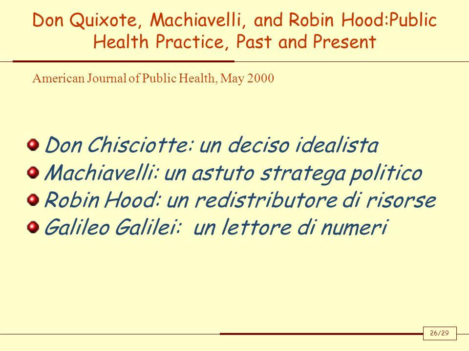 Don Quixote, Machiavelli, and Robin Hood:Public Health Practice, Past and Present Don Chisciotte: un deciso idealista Machiavelli: un astuto stratega