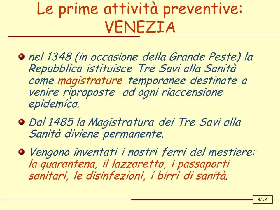 Le prime attività preventive: VENEZIA nel 1348 (in occasione della Grande Peste) la Repubblica istituisce Tre Savi alla Sanità come magistrature tempo