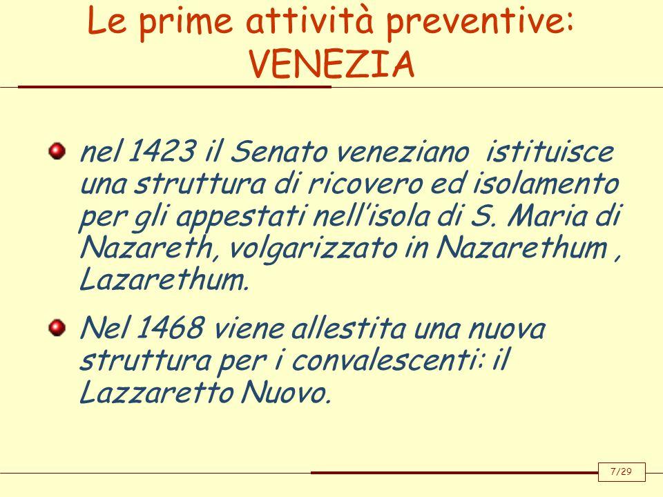 nel 1423 il Senato veneziano istituisce una struttura di ricovero ed isolamento per gli appestati nellisola di S. Maria di Nazareth, volgarizzato in N