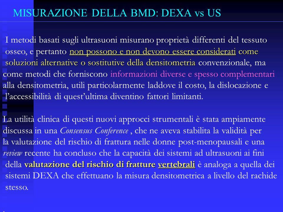 MISURAZIONE DELLA BMD: DEXA vs US I metodi basati sugli ultrasuoni misurano proprietà differenti del tessuto non possono e non devono essere considera