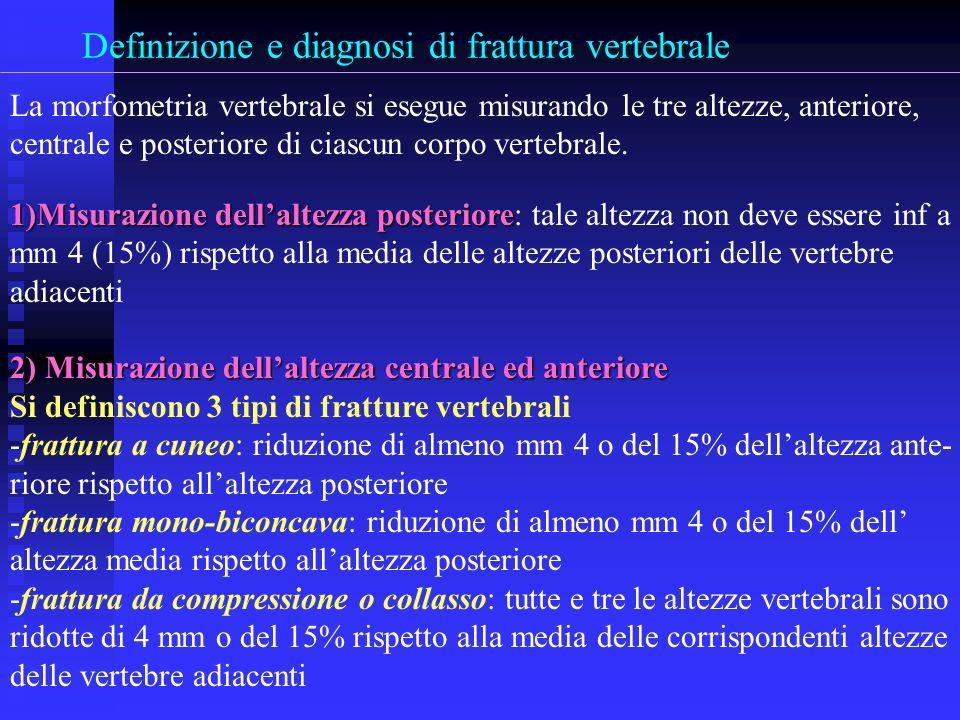 Definizione e diagnosi di frattura vertebrale La morfometria vertebrale si esegue misurando le tre altezze, anteriore, centrale e posteriore di ciascu