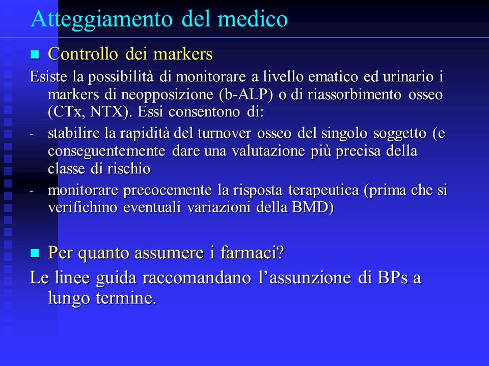 Atteggiamento del medico Controllo dei markers Controllo dei markers Esiste la possibilità di monitorare a livello ematico ed urinario i markers di neopposizione (b-ALP) o di riassorbimento osseo (CTx, NTX).