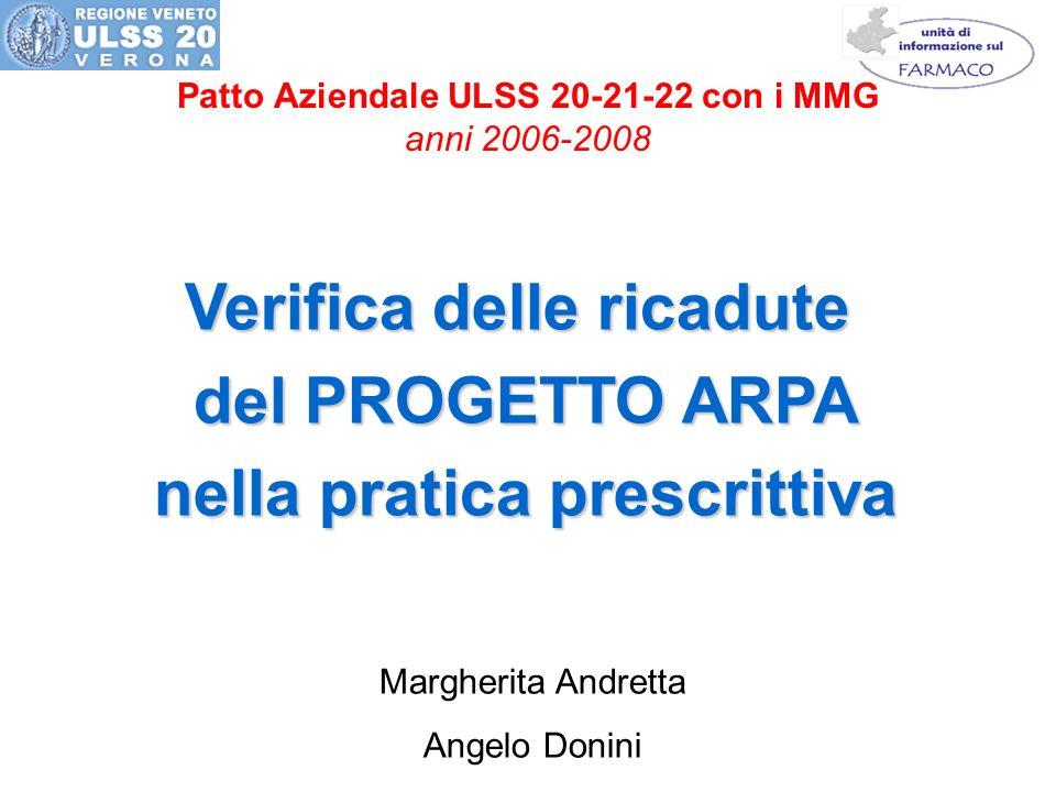 Patto Aziendale ULSS 20-21-22 con i MMG anni 2006-2008 Verifica delle ricadute del PROGETTO ARPA nella pratica prescrittiva Margherita Andretta Angelo