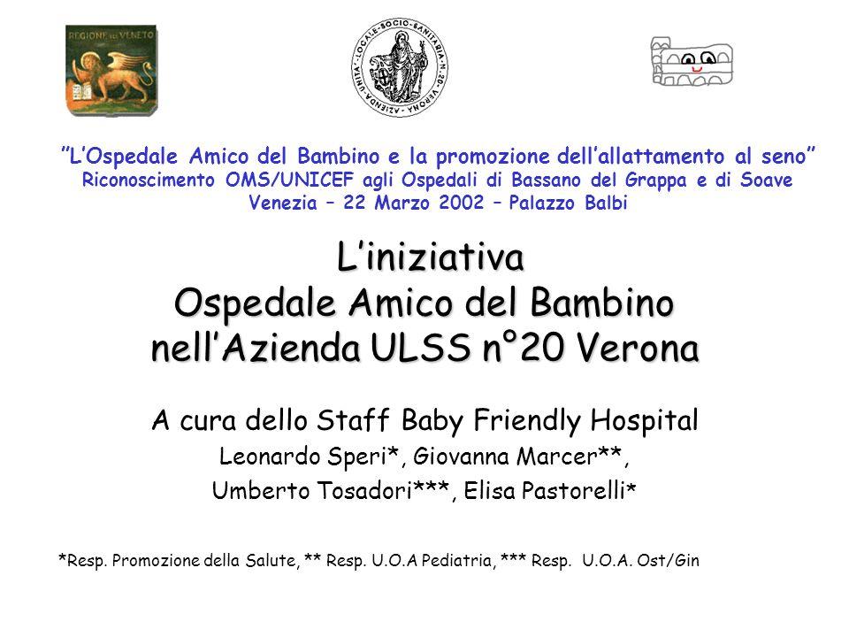 Liniziativa Ospedale Amico del Bambino nellAzienda ULSS n°20 Verona Liniziativa Ospedale Amico del Bambino nellAzienda ULSS n°20 Verona A cura dello S