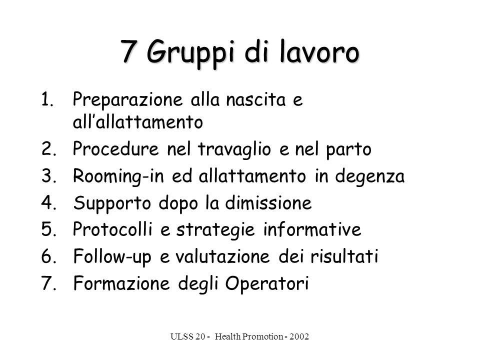 ULSS 20 - Health Promotion - 2002 7 Gruppi di lavoro 1.Preparazione alla nascita e allallattamento 2.Procedure nel travaglio e nel parto 3.Rooming-in