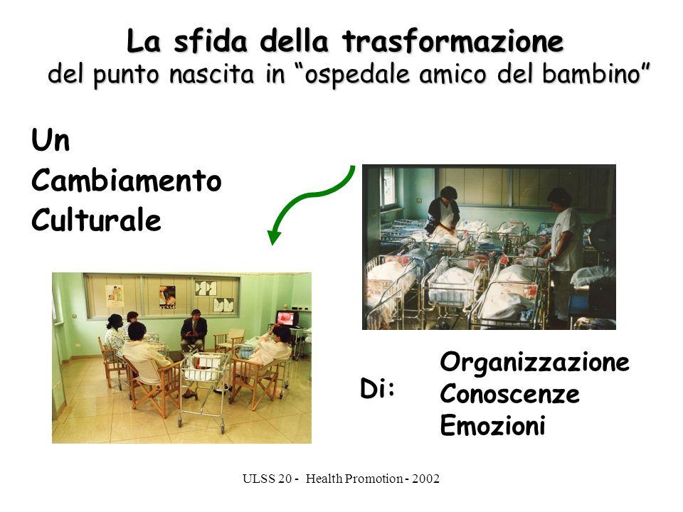 ULSS 20 - Health Promotion - 2002 La sfida della trasformazione del punto nascita in ospedale amico del bambino Un Cambiamento Culturale Organizzazion