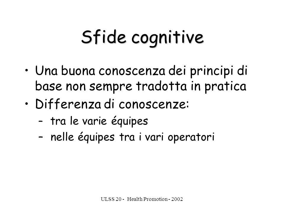 ULSS 20 - Health Promotion - 2002 Sfide cognitive Una buona conoscenza dei principi di base non sempre tradotta in pratica Differenza di conoscenze: –