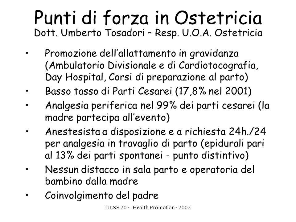 ULSS 20 - Health Promotion - 2002 Punti di forza in Ostetricia Dott. Umberto Tosadori – Resp. U.O.A. Ostetricia Promozione dellallattamento in gravida