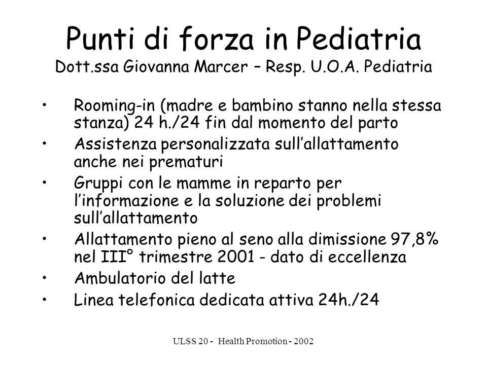 ULSS 20 - Health Promotion - 2002 Punti di forza in Pediatria Dott.ssa Giovanna Marcer – Resp. U.O.A. Pediatria Rooming-in (madre e bambino stanno nel