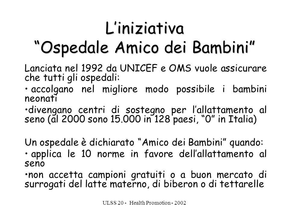 ULSS 20 - Health Promotion - 2002 Liniziativa Ospedale Amico dei Bambini Lanciata nel 1992 da UNICEF e OMS vuole assicurare che tutti gli ospedali: ac