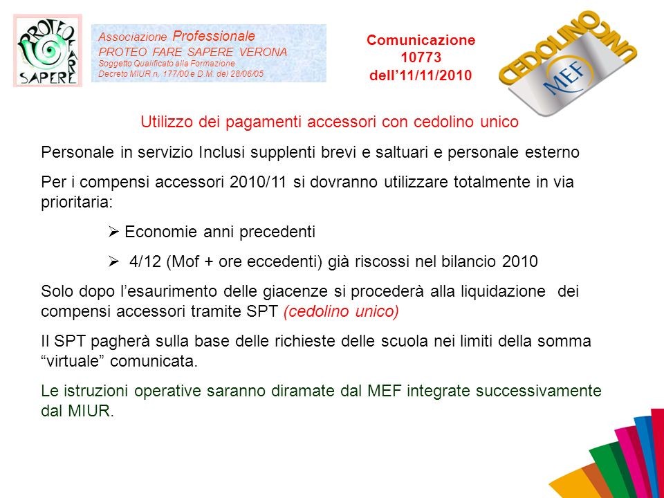 Associazione Professionale PROTEO FARE SAPERE VERONA Soggetto Qualificato alla Formazione Decreto MIUR n. 177/00 e D.M. del 28/06/05 Utilizzo dei paga