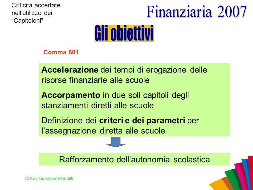 DSGA Giuseppe Menditti Criticità accertate nellutilizzo dei Capitoloni Comma 601 Accelerazione dei tempi di erogazione delle risorse finanziarie alle