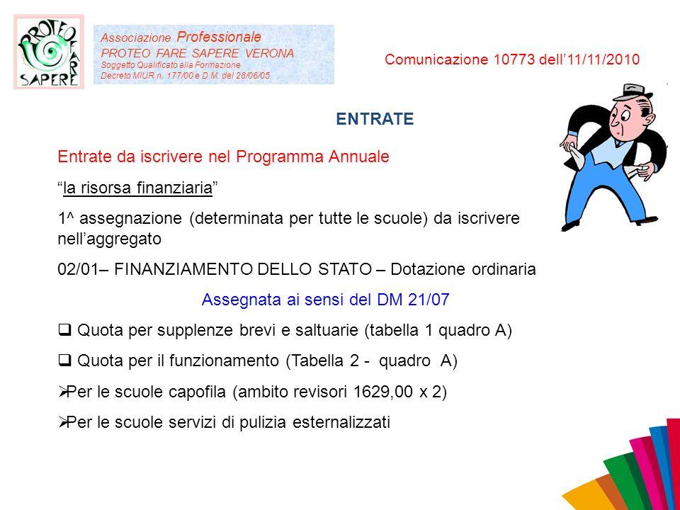 Associazione Professionale PROTEO FARE SAPERE VERONA Soggetto Qualificato alla Formazione Decreto MIUR n. 177/00 e D.M. del 28/06/05 Comunicazione 107