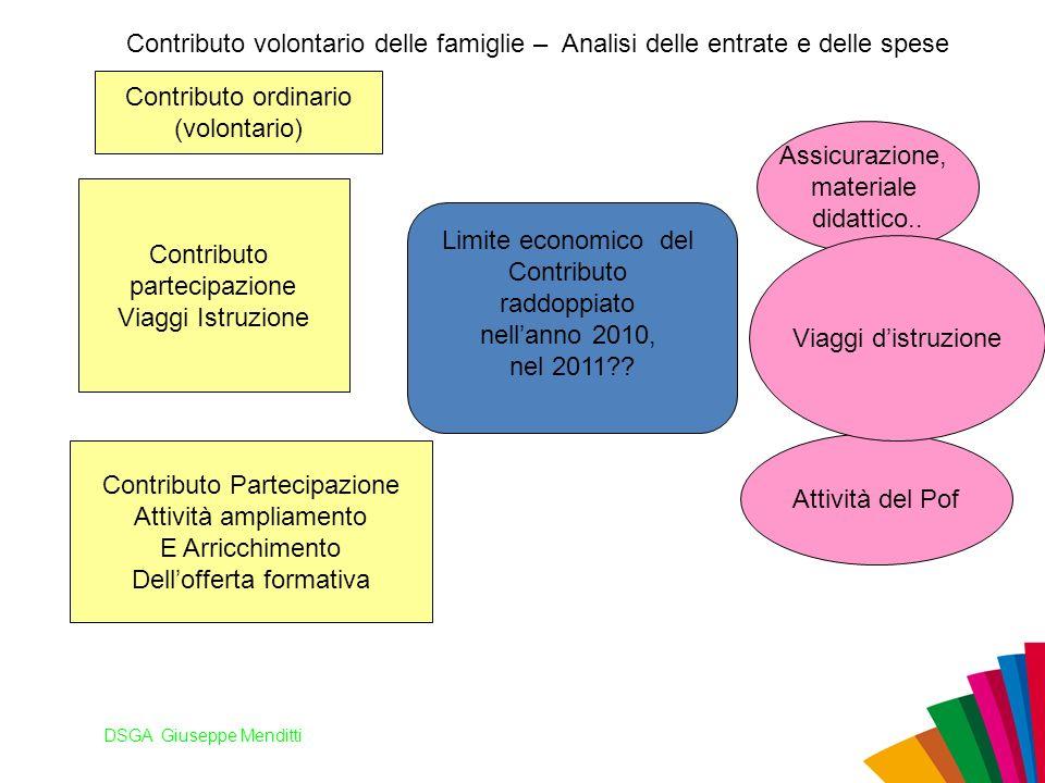 DSGA Giuseppe Menditti Contributo volontario delle famiglie – Analisi delle entrate e delle spese Assicurazione, materiale didattico.. Attività del Po