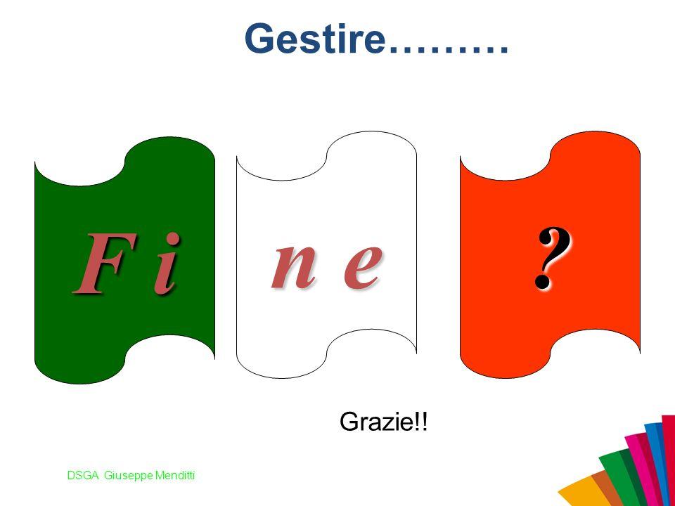 DSGA Giuseppe Menditti Gestire……… F i n e ? Grazie!!