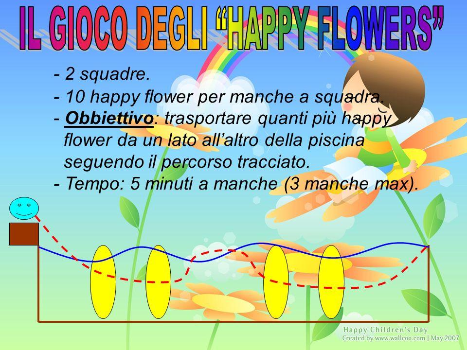 - 2 squadre. - 10 happy flower per manche a squadra.