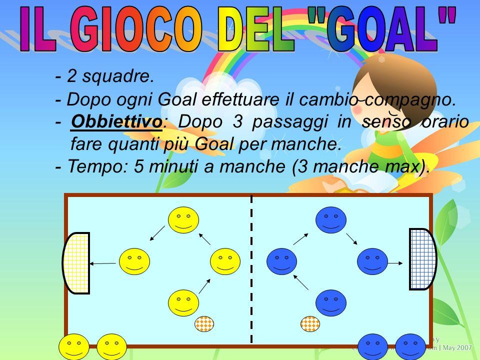 - 2 squadre. - Dopo ogni Goal effettuare il cambio compagno.