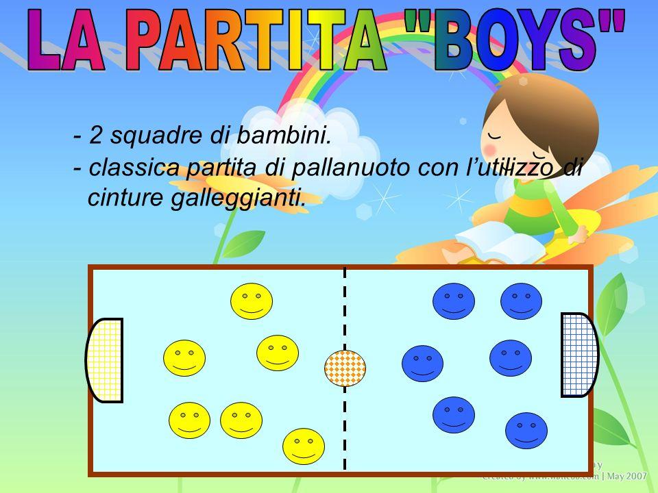 - 2 squadre di bambini. - classica partita di pallanuoto con lutilizzo di cinture galleggianti.