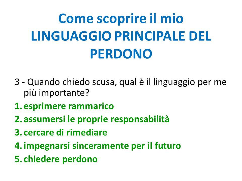 Come scoprire il mio LINGUAGGIO PRINCIPALE DEL PERDONO 3 - Quando chiedo scusa, qual è il linguaggio per me più importante? 1.esprimere rammarico 2.as