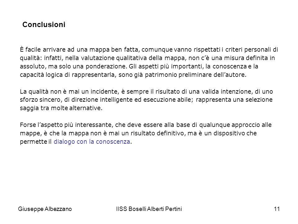 IISS Boselli Alberti Pertini11 È facile arrivare ad una mappa ben fatta, comunque vanno rispettati i criteri personali di qualità: infatti, nella valu