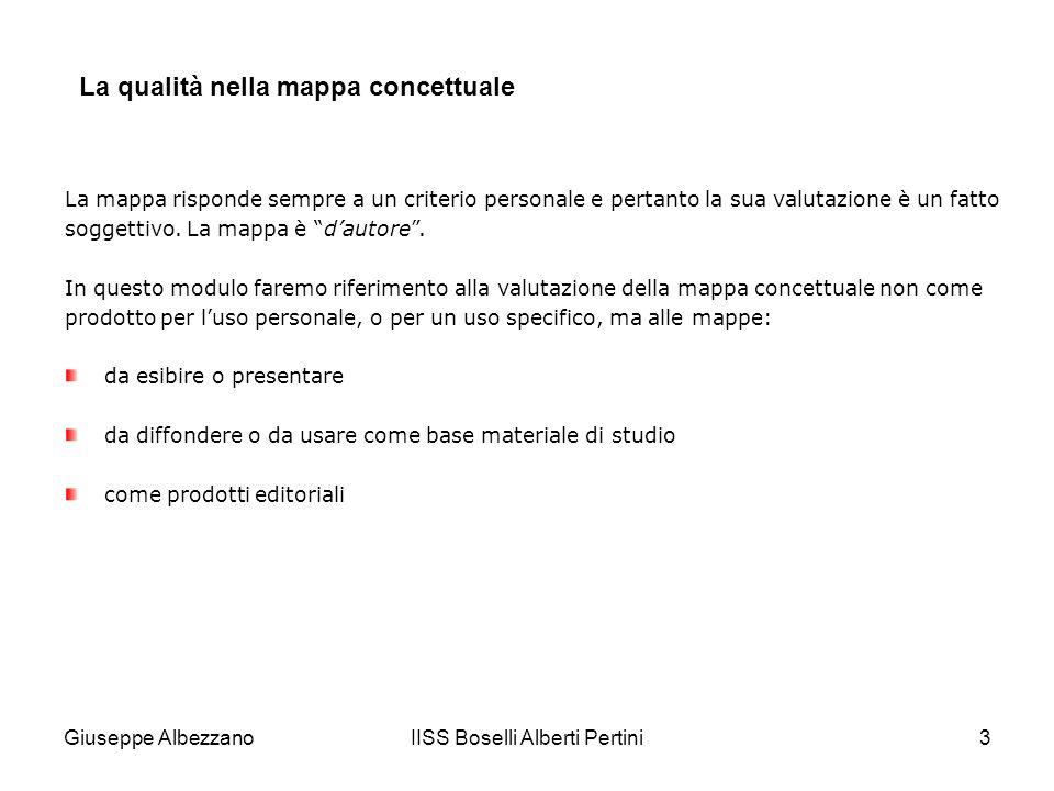 IISS Boselli Alberti Pertini3 La qualità nella mappa concettuale La mappa risponde sempre a un criterio personale e pertanto la sua valutazione è un fatto soggettivo.