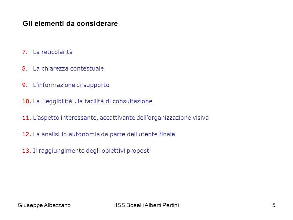 IISS Boselli Alberti Pertini5 Gli elementi da considerare 7.La reticolarità 8.La chiarezza contestuale 9.Linformazione di supporto 10.La leggibilità,