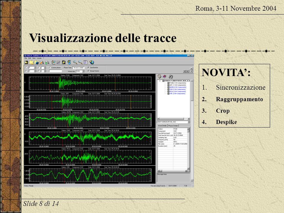 Visualizzazione delle tracce Roma, 3-11 Novembre 2004 NOVITA: 1.Sincronizzazione 2.Raggruppamento 3.Crop 4.Despike Slide 8 di 14