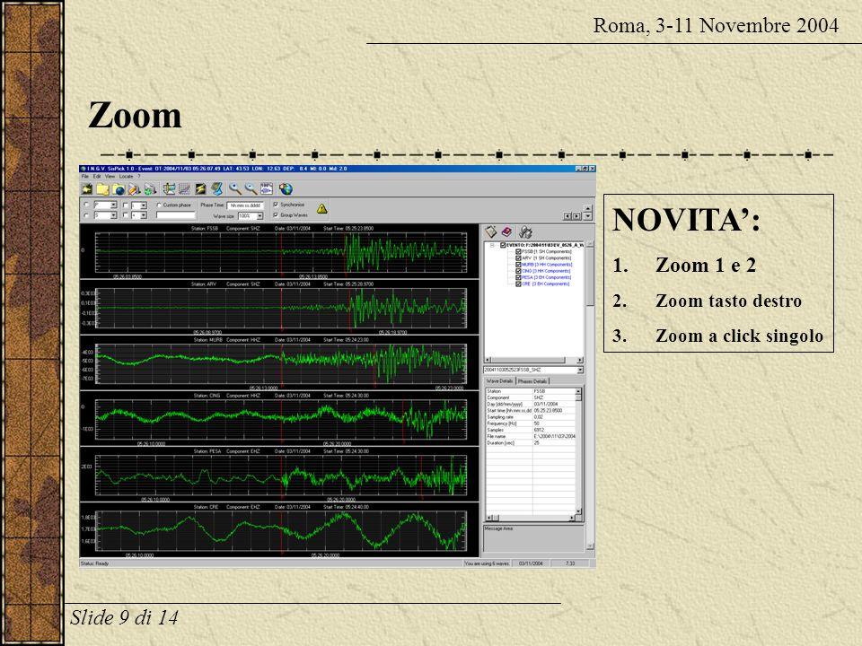 Zoom Roma, 3-11 Novembre 2004 NOVITA: 1.Zoom 1 e 2 2.Zoom tasto destro 3.Zoom a click singolo Slide 9 di 14