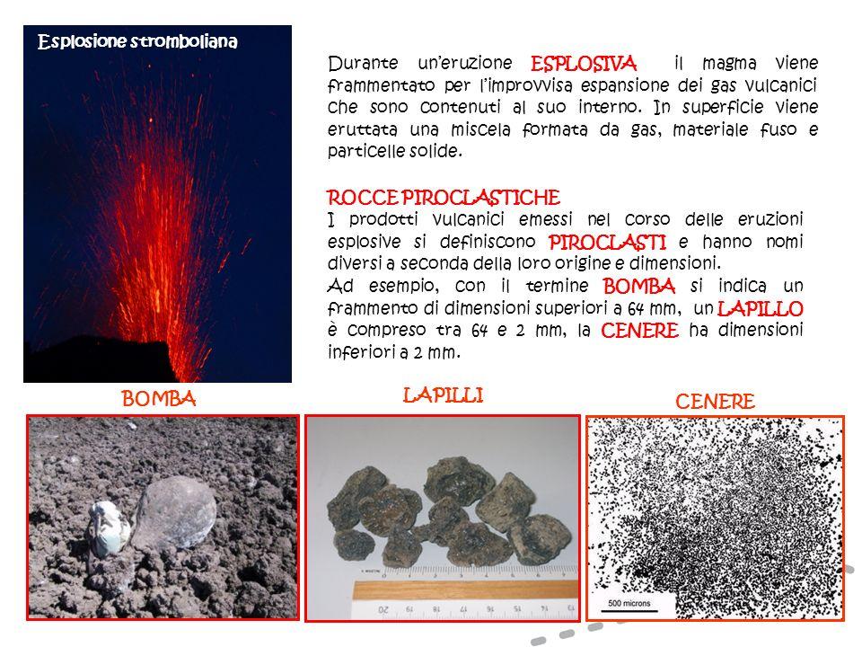 Esplosione stromboliana Durante uneruzione ESPLOSIVA il magma viene frammentato per limprovvisa espansione dei gas vulcanici che sono contenuti al suo