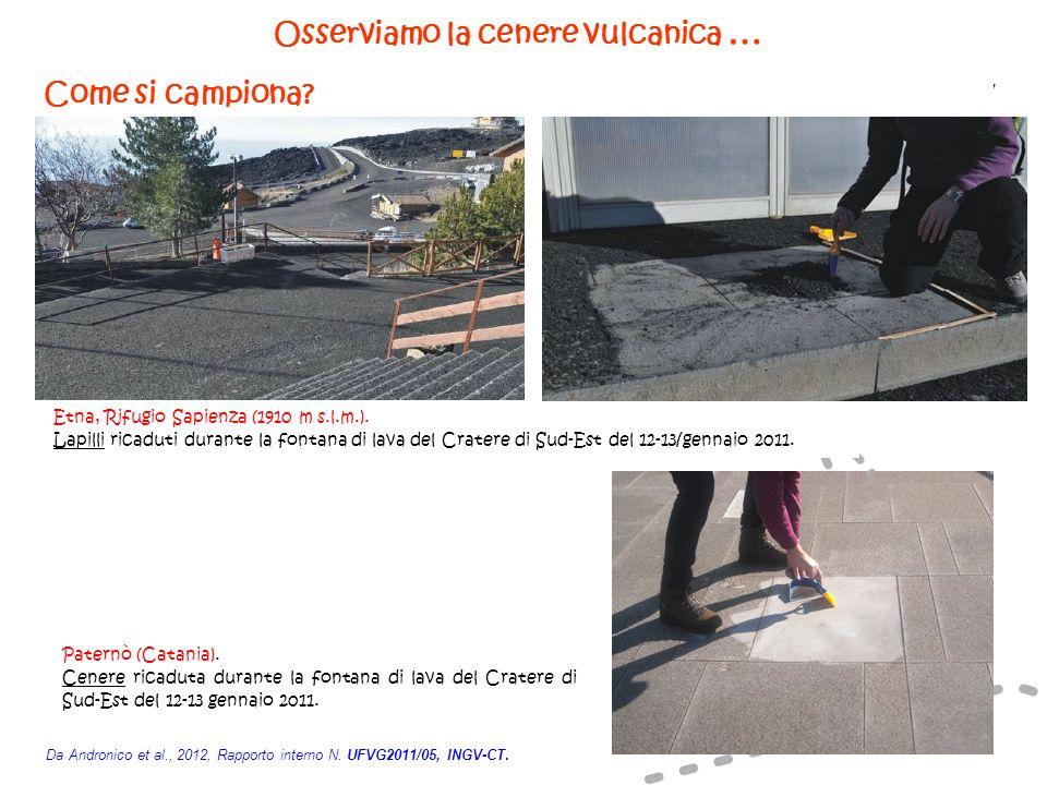 Osserviamo la cenere vulcanica … Come si campiona? Da Andronico et al., 2012, Rapporto interno N. UFVG2011/05, INGV-CT. Etna, Rifugio Sapienza (1910 m