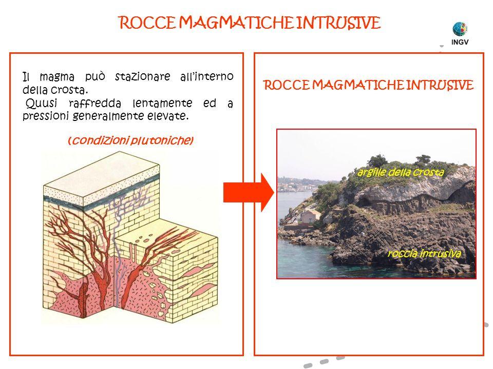 Il magma può stazionare allinterno della crosta. Quusi raffredda lentamente ed a pressioni generalmente elevate. (condizioni plutoniche) ROCCE MAGMATI
