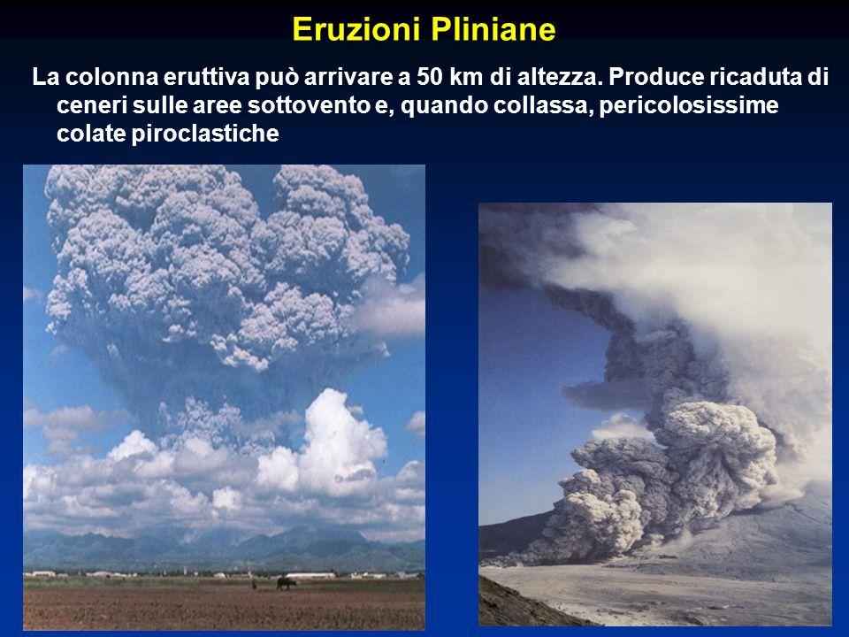 Eruzioni Pliniane La colonna eruttiva può arrivare a 50 km di altezza. Produce ricaduta di ceneri sulle aree sottovento e, quando collassa, pericolosi