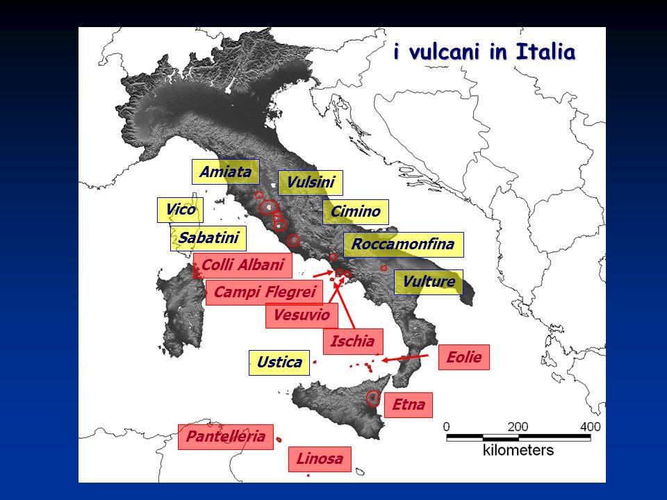 i vulcani in Italia Amiata Vulsini Cimino Vico Sabatini Colli Albani Roccamonfina Campi Flegrei Ischia Vesuvio Vulture Eolie Etna Pantelleria Linosa U