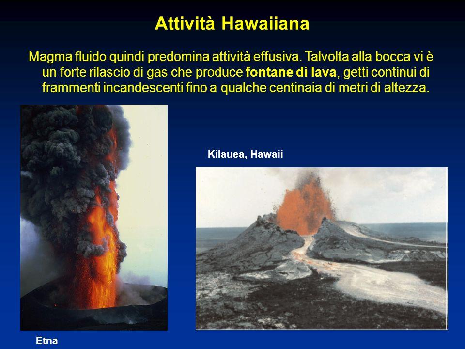 Attività Hawaiiana Magma fluido quindi predomina attività effusiva. Talvolta alla bocca vi è un forte rilascio di gas che produce fontane di lava, get