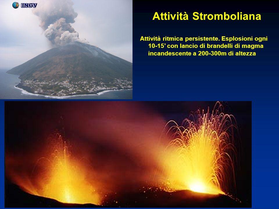 Attività Stromboliana Attività ritmica persistente. Esplosioni ogni 10-15 con lancio di brandelli di magma incandescente a 200-300m di altezza