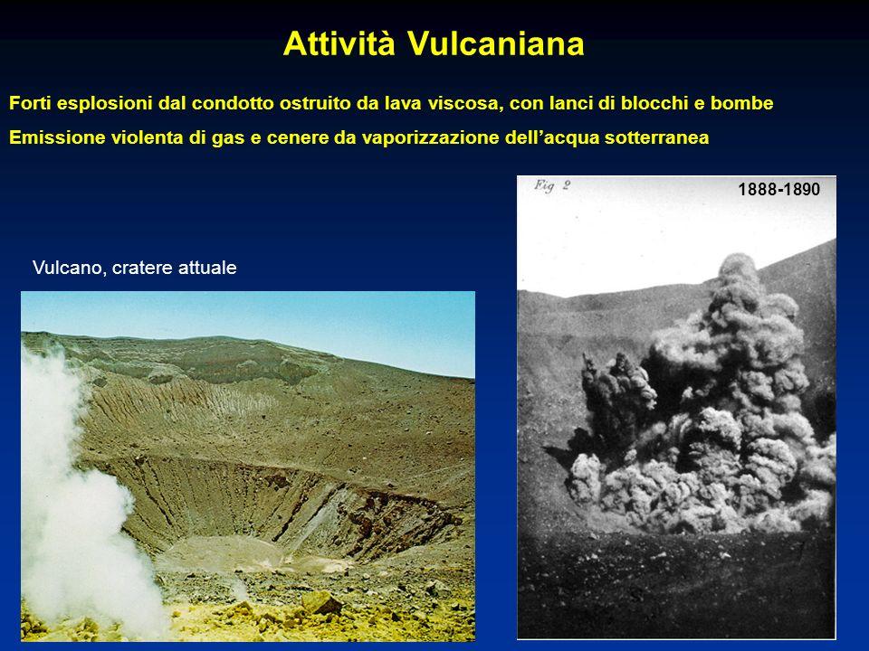 Attività Vulcaniana Forti esplosioni dal condotto ostruito da lava viscosa, con lanci di blocchi e bombe Emissione violenta di gas e cenere da vaporiz
